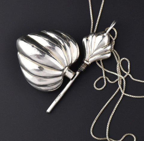 Fluted Puffy Heart Silver Perfume Pendant Necklace