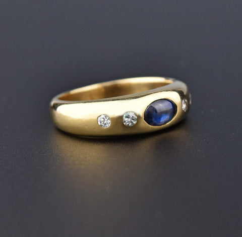 14K Gold Diamond Sapphire Cabochon Gypsy Ring