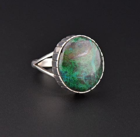 Southwest Style Vintage Mens Silver Turquoise Ring