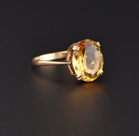 Yellow Citrine Oval Solitaire Gold Ring