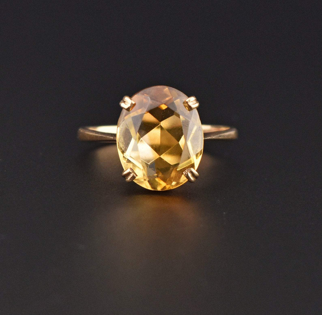 Yellow Citrine Oval Solitaire Gold Ring - Boylerpf