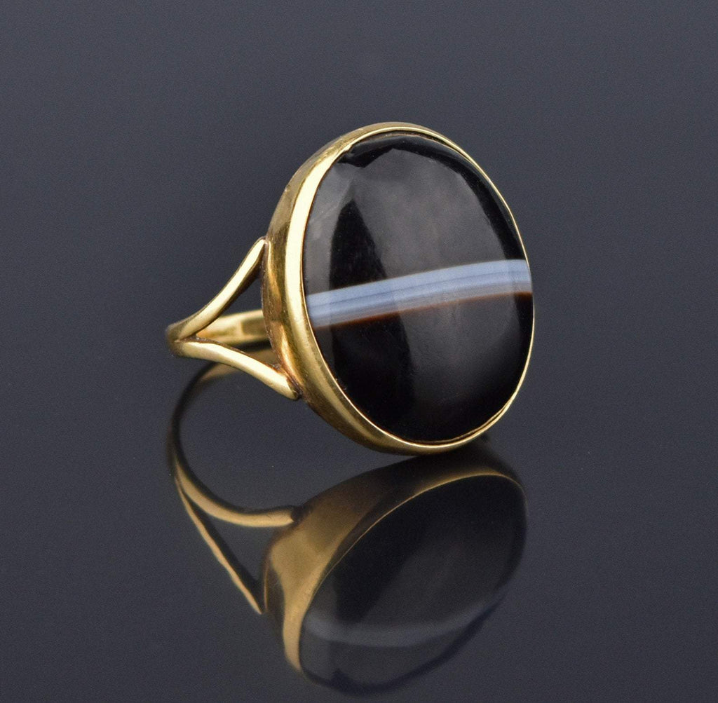 Victorian 15K Gold Banded Agate Cabochon Ring - Boylerpf