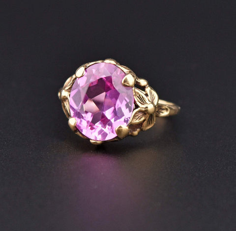 Art Deco Pink Sapphire Forget Me Not Ring