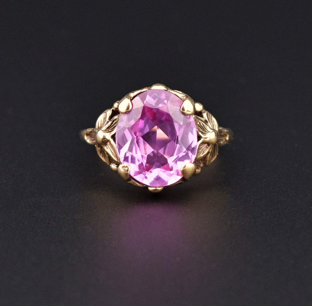 Art Deco Pink Sapphire Forget Me Not Ring - Boylerpf