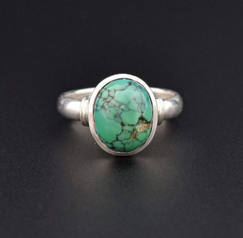 Boho Silver Turquoise Oval Cabochon Ring