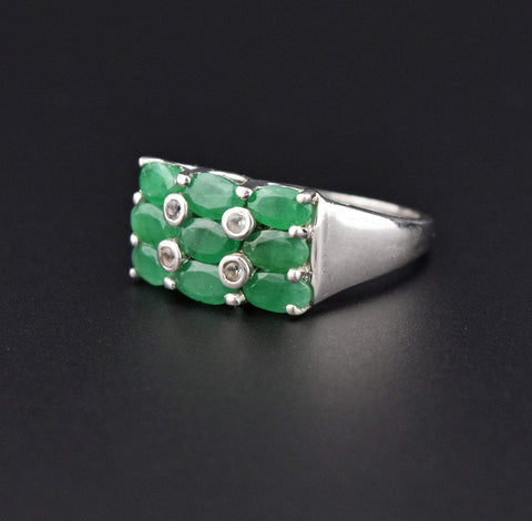 Vintage Emerald Checkerboard Style Ring