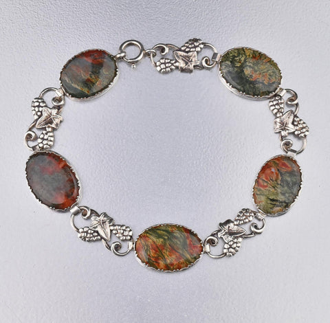 Sterling Silver Antique Gemstone Bracelet 1940s