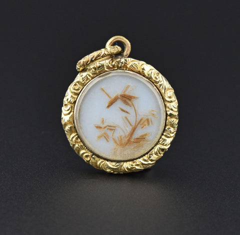 Victorian Gold Repousse Locket Pendant Necklace