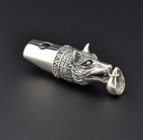 Silver Wolf Fox Dog Whistle Pendant Necklace