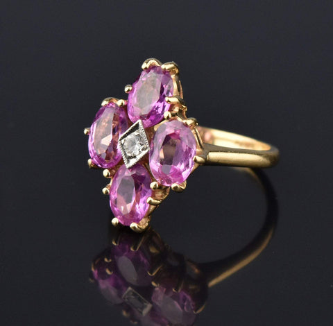 Estate Pink Sapphire 14K Gold Cluster Ring