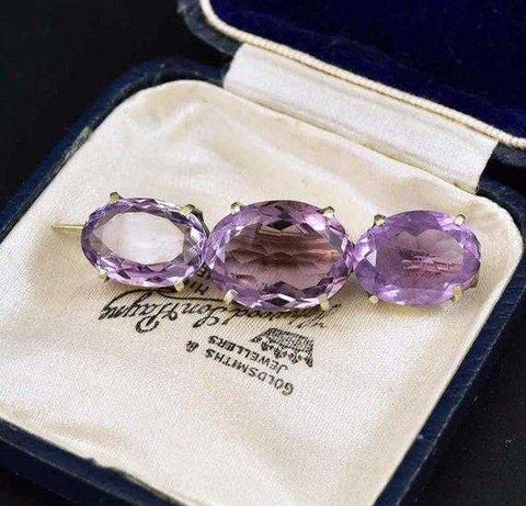 Victorian Natural Amethyst Antique Silver Pin Brooch