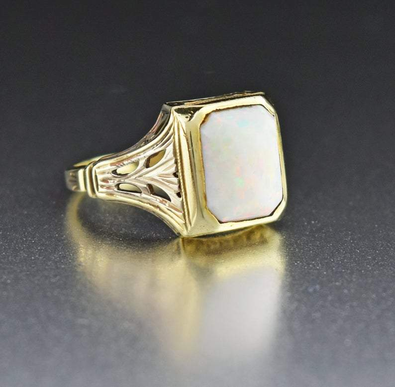 14K Gold Antique Australian Opal Ring - Boylerpf