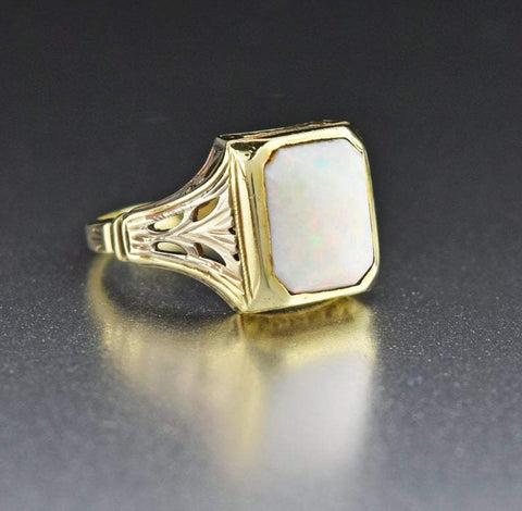 14K Gold Antique Australian Opal Ring
