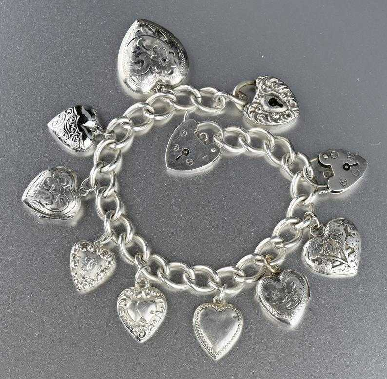 Antique Puffy Heart Charm Bracelet 1940s - Boylerpf