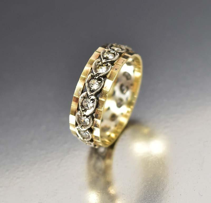 Antique White Topaz Art Deco Wedding Band Ring - Boylerpf
