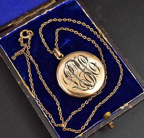 Fine Engraved 12K Gold Filled Book Locket Necklace
