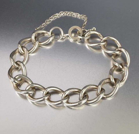 Sterling Silver Large Link English Curb Chain Bracelet