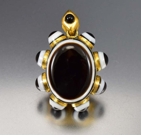 Banded Agate Victorian Locket Necklace Mourning Jewelry