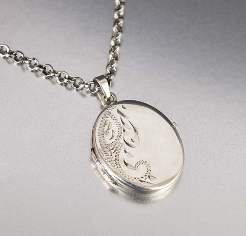 Engraved Sterling Silver Oval Pendant Locket Necklace