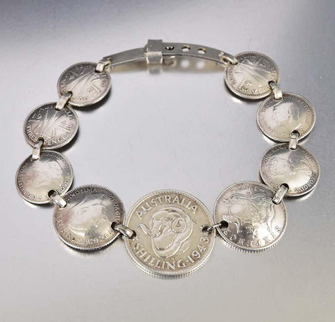 1940s Sterling Silver Sweetheart Coin Charm Bracelet