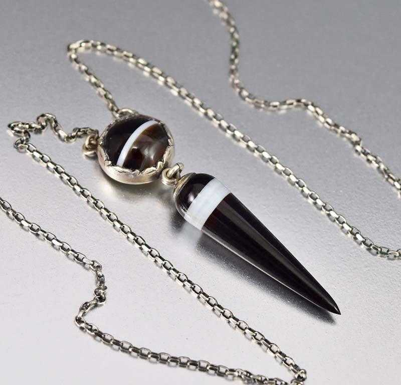 Victorian Silver Tear Drop Banded Agate Necklace - Boylerpf