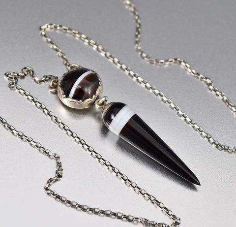 Victorian Silver Tear Drop Banded Agate Necklace