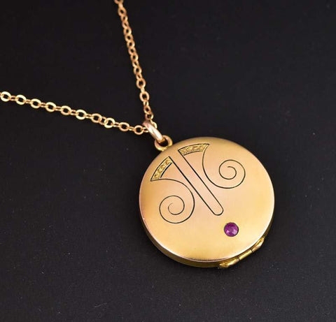 Antique 14K Gold Ruby Art Nouveau Locket Necklace