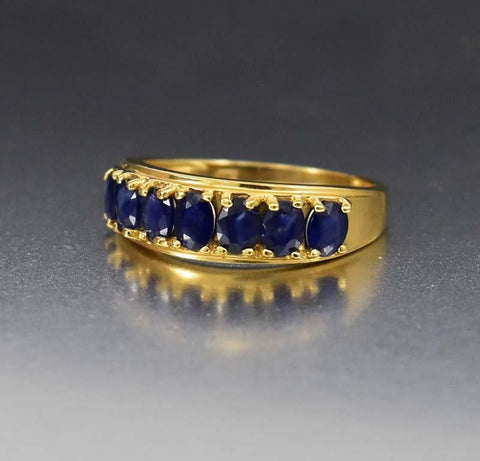 Natural Sapphire 10K Gold Half Eternity Band Ring