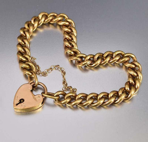 Heart Padlock 18K Rolled Gold Curb Chain Bracelet