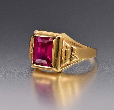 Vintage 1920s 10K Gold Art Deco Ruby Ring