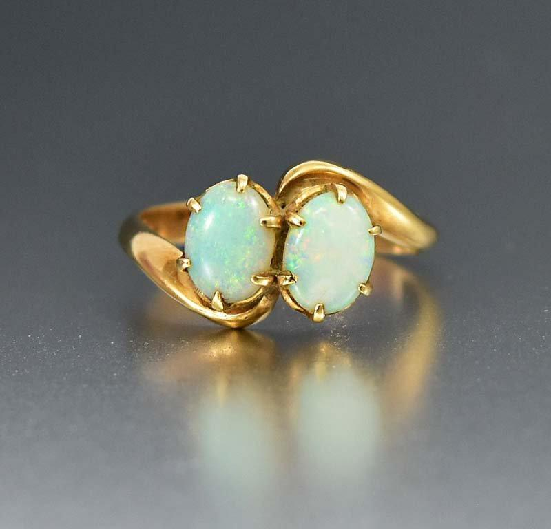 Edwardian 14K Gold 3/4 CT Antique Opal Ring - Boylerpf