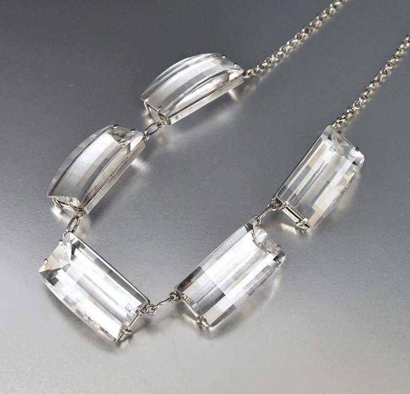 Rock Crystal Sterling Silver Art Deco Necklace - Boylerpf