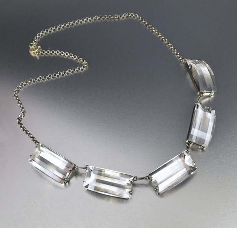 Rock Crystal Sterling Silver Art Deco Necklace