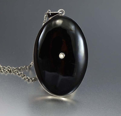 Antique Black Enamel Silver Photo Locket Mourning Jewelry
