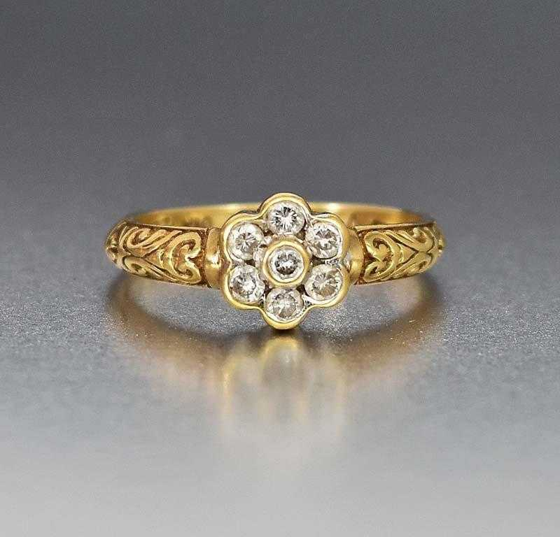English Gold Diamond Cluster Engagement Ring - Boylerpf