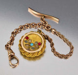 12K Gold Filled Turquoise Garnet Pocket Watch Chain - Boylerpf