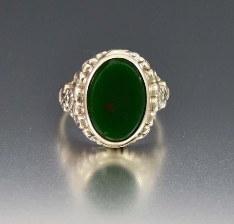 Antique Art Nouveau Chunky Bloodstone Statement  Ring