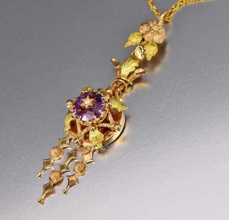 Day to Night Antique 14K Gold Amethyst Lavaliere Pendant - Boylerpf