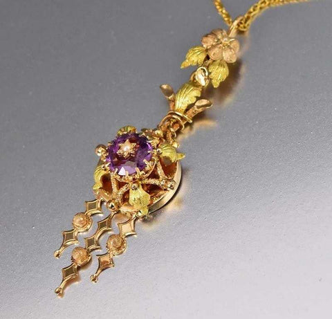Day to Night Antique 14K Gold Amethyst Lavaliere Pendant