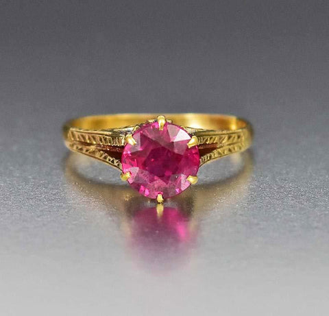 Antique Gold Trilogy Ruby Engagement Ring Victorian