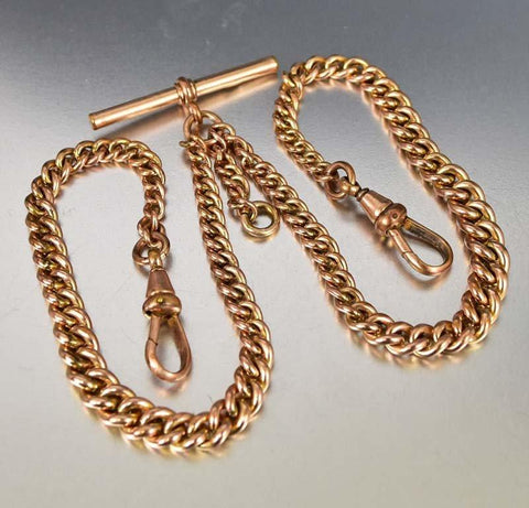 18K Rolled Gold Victorian Curb Link Watch Chain