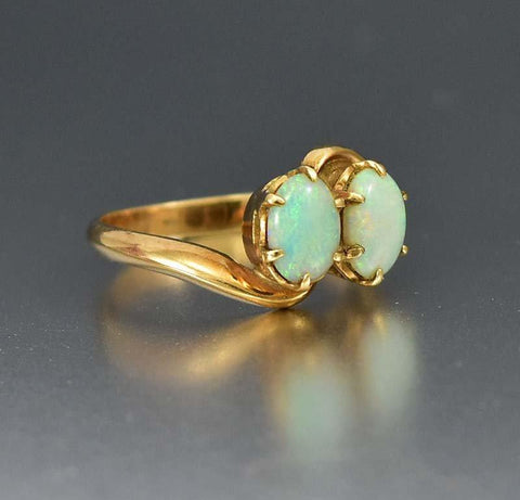 Edwardian 14K Gold 3/4 CT Antique Opal Ring