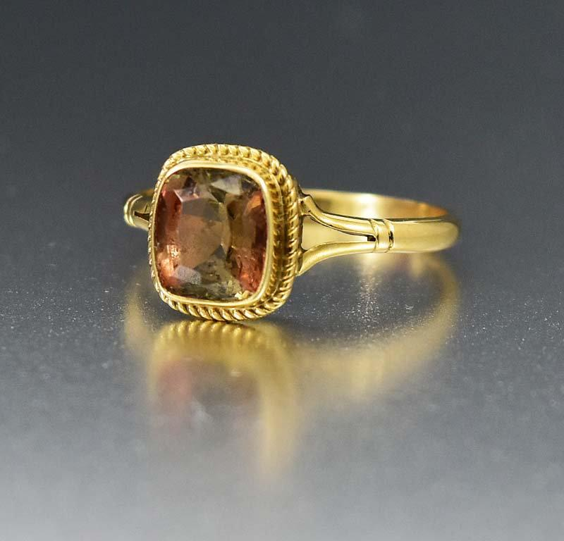 Yellow Gold Radiant Cut 1.5CT Andalusite Ring - Boylerpf