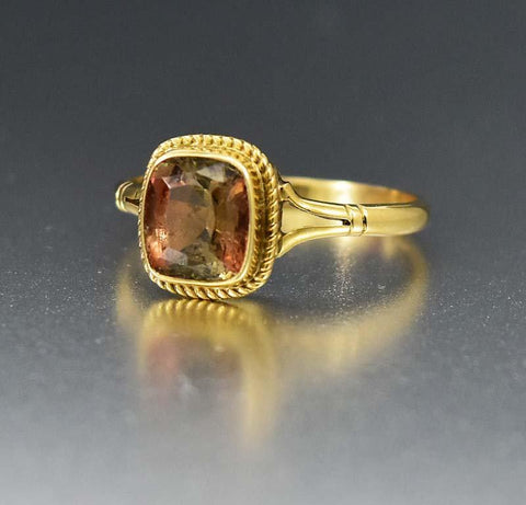 Yellow Gold Radiant Cut 1.5CT Andalusite Ring