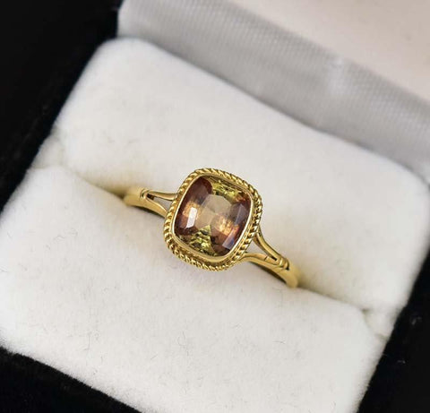 Yellow Gold Rare Radiant Cut 1.5CT Andalusite Ring