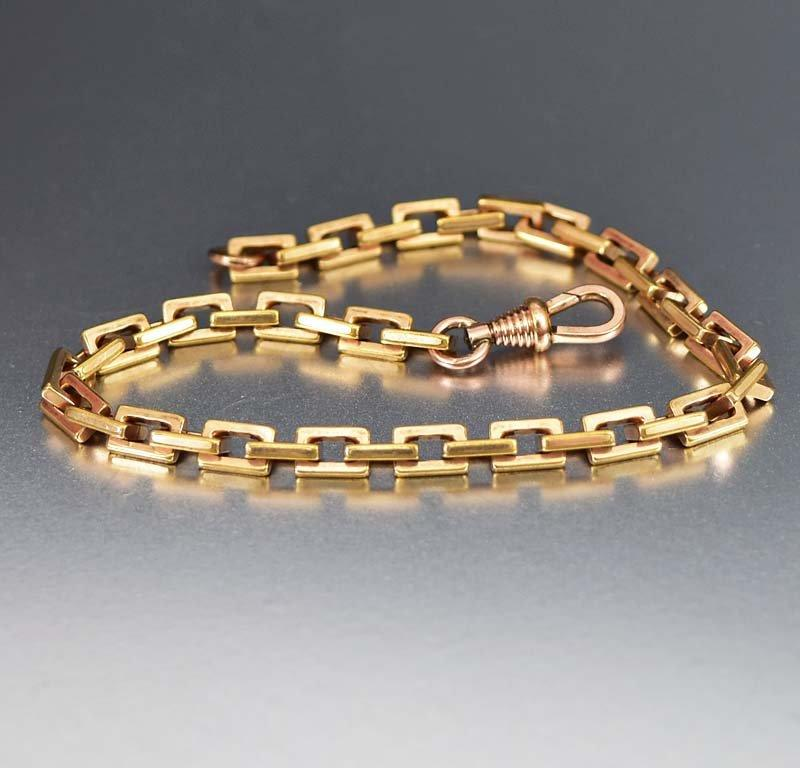 18K Rolled Gold Fine Fancy Link Watch Chain Bracelet - Boylerpf