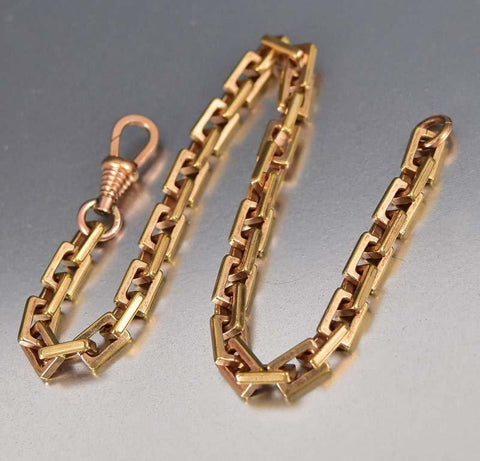 18K Rolled Gold Fine Fancy Link Watch Chain Bracelet
