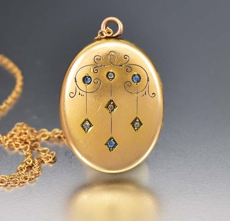 Antique Gold Filled Victorian Rhinestone Paste Locket - Boylerpf