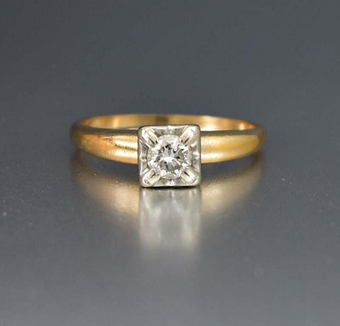 Vintage Two Tone Gold 14K Diamond Solitaire Illusion Ring