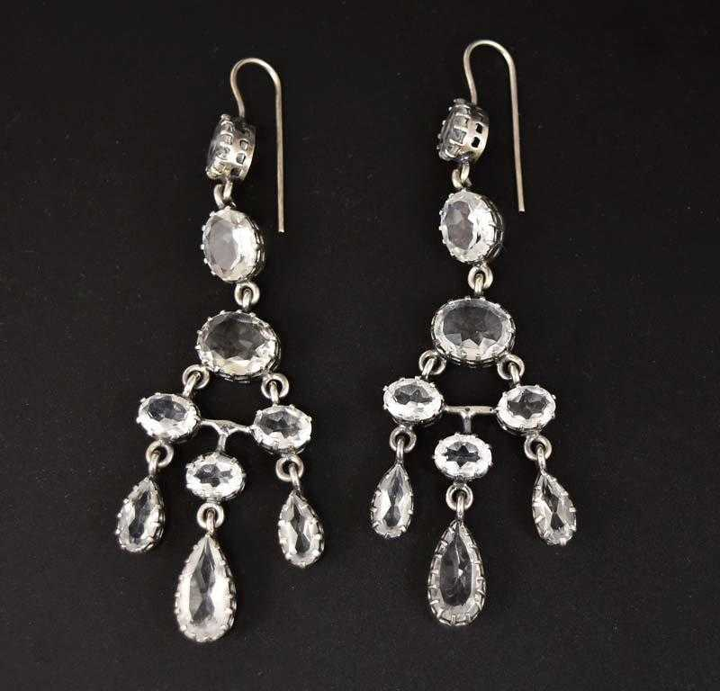 Rock Crystal Riviere Chandelier Earrings Antique Girandole - Boylerpf